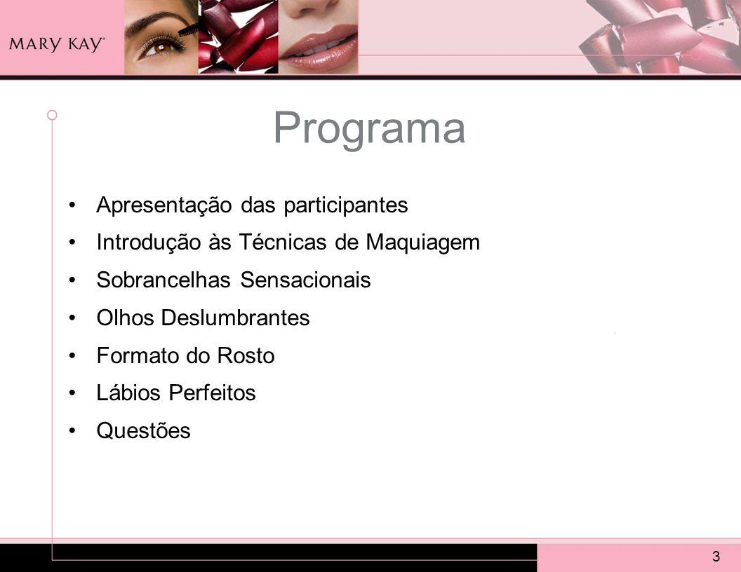 3 Programa Apresentação das participantes Introdução às Técnicas de Maquiagem Sobrancelhas Sensacionais Olhos Deslumbrantes Formato do Rosto Lábios Pe