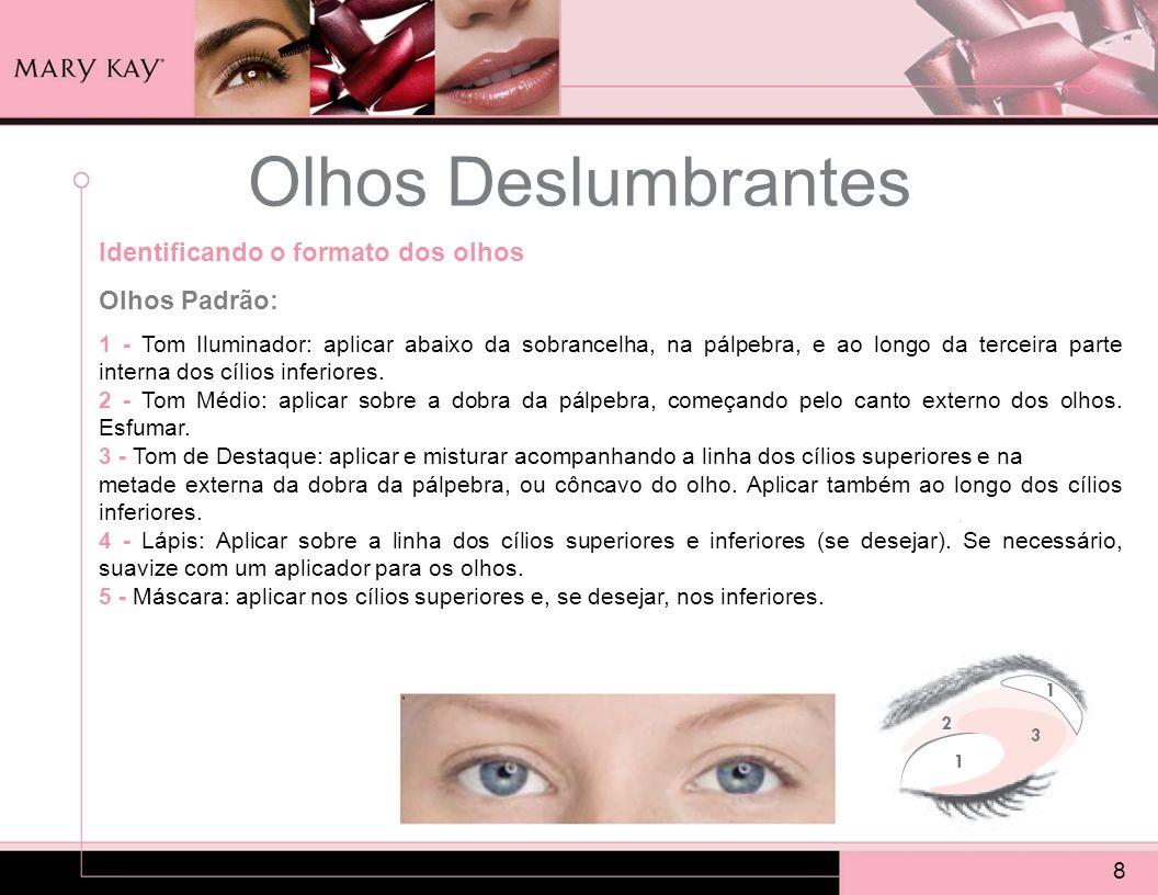Olhos Deslumbrantes 8 Identificando o formato dos olhos Olhos Padrão: 1 - Tom Iluminador: aplicar abaixo da sobrancelha, na pálpebra, e ao longo da te