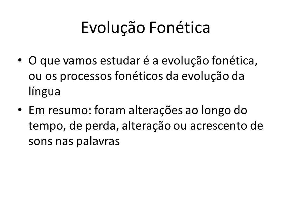 Evolução Fonética O que vamos estudar é a evolução fonética, ou os processos fonéticos da evolução da língua Em resumo: foram alterações ao longo do tempo, de perda, alteração ou acrescento de sons nas palavras