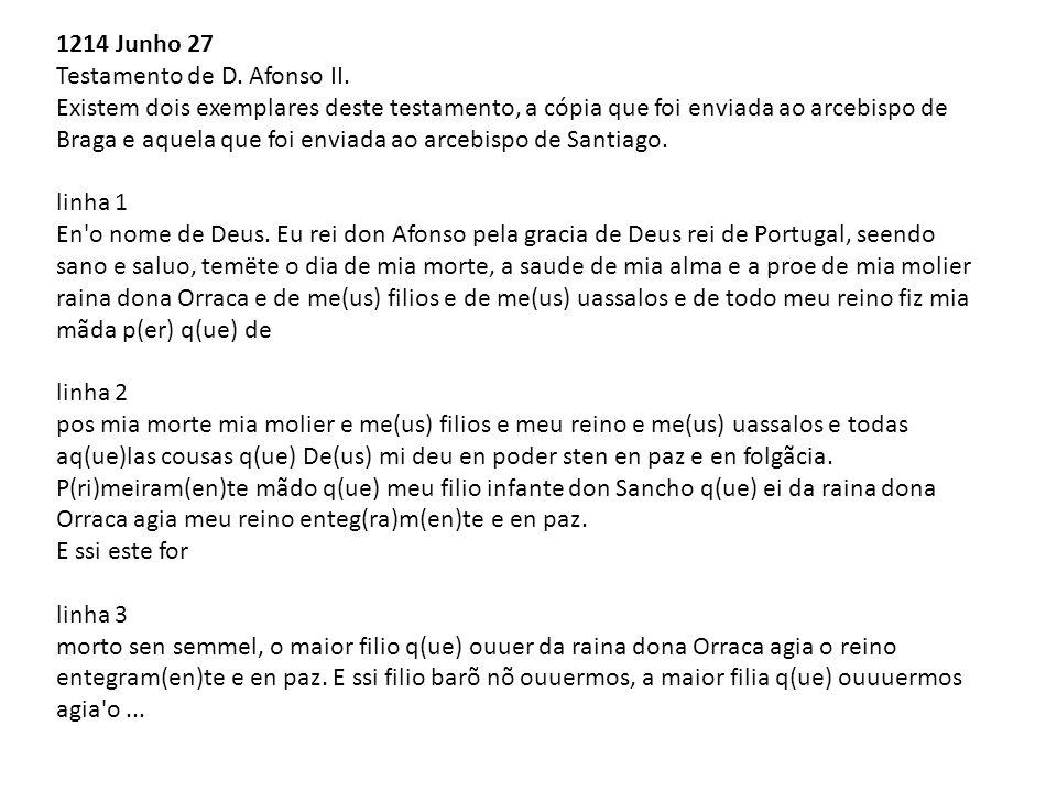 1214 Junho 27 Testamento de D. Afonso II. Existem dois exemplares deste testamento, a cópia que foi enviada ao arcebispo de Braga e aquela que foi env