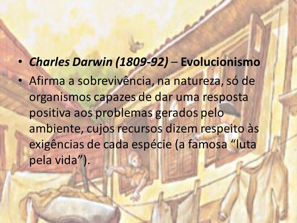 Charles Darwin (1809-92) – Evolucionismo Afirma a sobrevivência, na natureza, só de organismos capazes de dar uma resposta positiva aos problemas gera