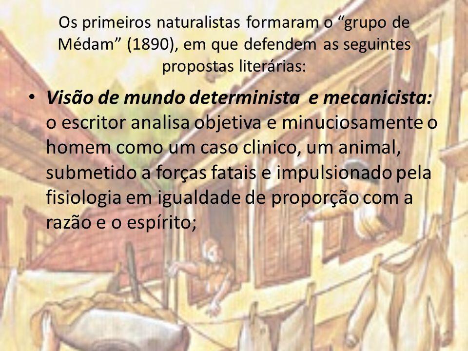 Os primeiros naturalistas formaram o grupo de Médam (1890), em que defendem as seguintes propostas literárias: Visão de mundo determinista e mecanicis