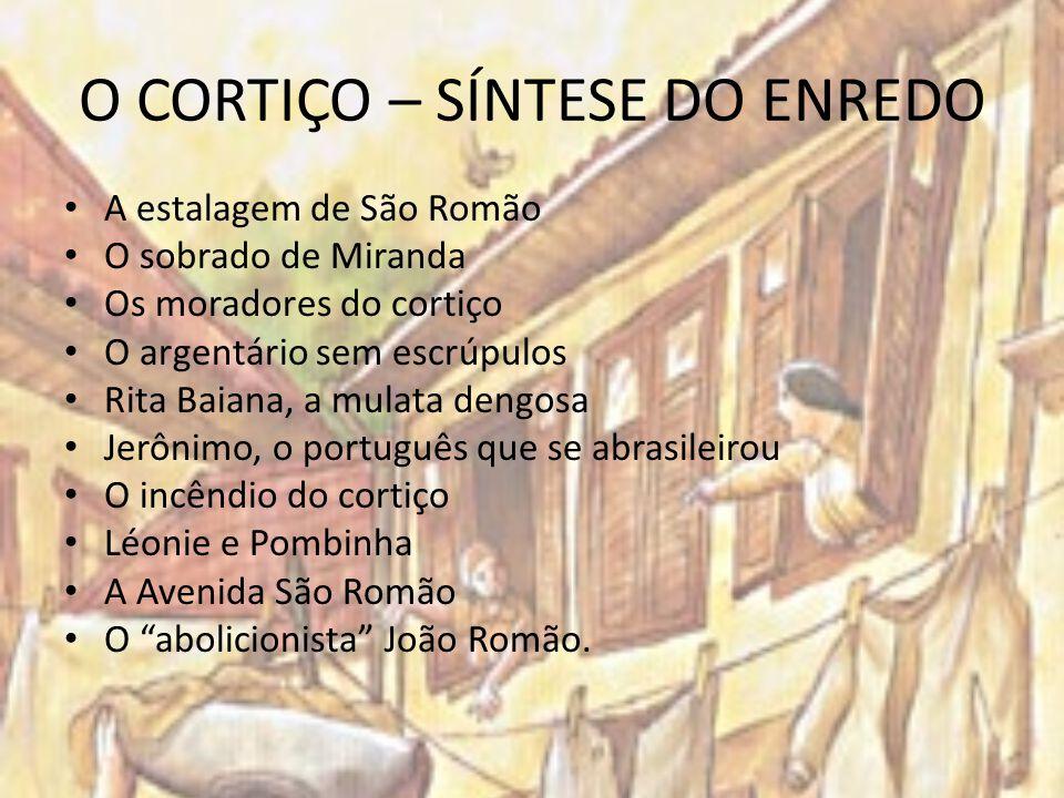 O CORTIÇO – SÍNTESE DO ENREDO A estalagem de São Romão O sobrado de Miranda Os moradores do cortiço O argentário sem escrúpulos Rita Baiana, a mulata