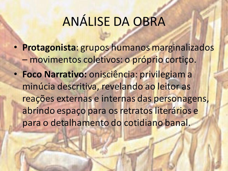 ANÁLISE DA OBRA Protagonista: grupos humanos marginalizados – movimentos coletivos: o próprio cortiço. Foco Narrativo: onisciência: privilegiam a minú