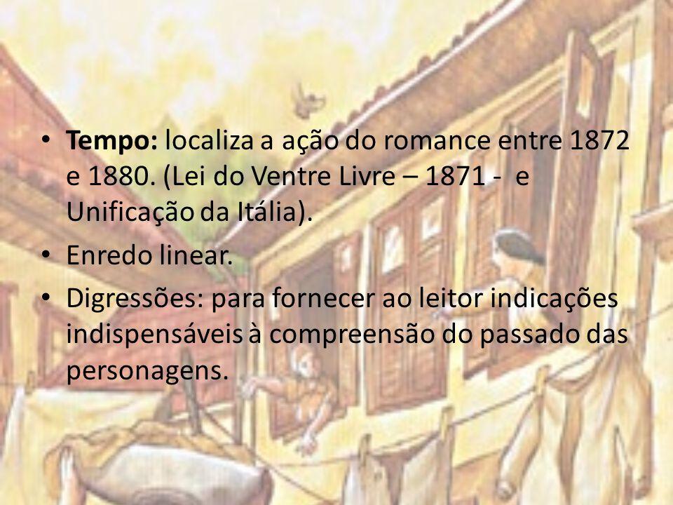 Tempo: localiza a ação do romance entre 1872 e 1880. (Lei do Ventre Livre – 1871 - e Unificação da Itália). Enredo linear. Digressões: para fornecer a