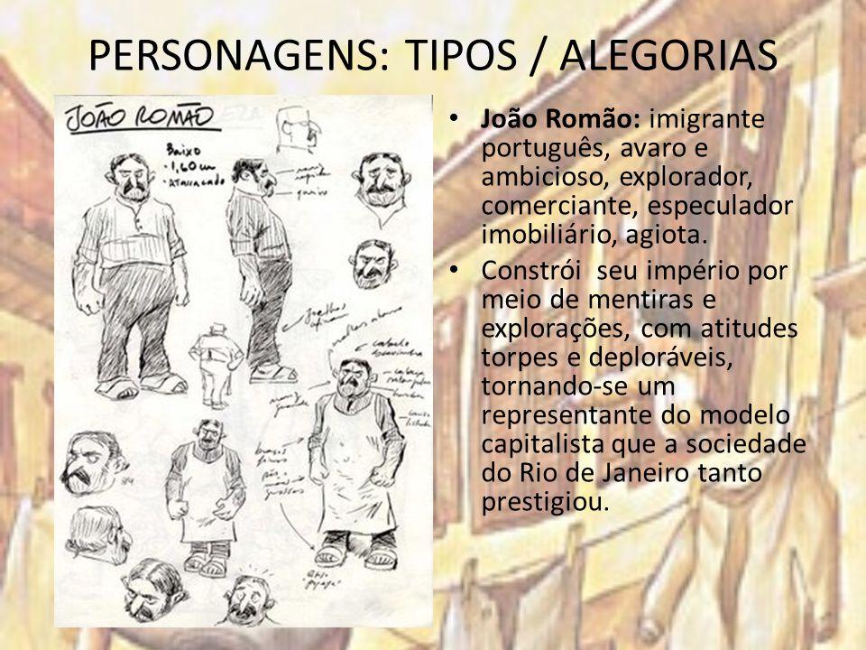 PERSONAGENS: TIPOS / ALEGORIAS João Romão: imigrante português, avaro e ambicioso, explorador, comerciante, especulador imobiliário, agiota. Constrói