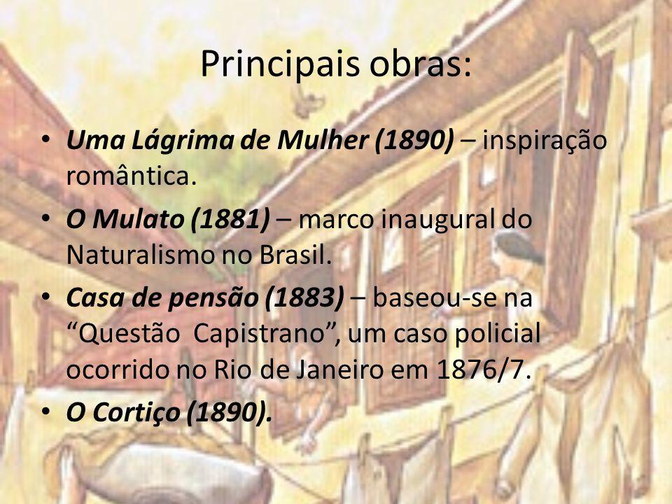 Principais obras: Uma Lágrima de Mulher (1890) – inspiração romântica. O Mulato (1881) – marco inaugural do Naturalismo no Brasil. Casa de pensão (188