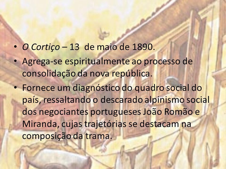 O Cortiço – 13 de maio de 1890. Agrega-se espiritualmente ao processo de consolidação da nova república. Fornece um diagnóstico do quadro social do pa