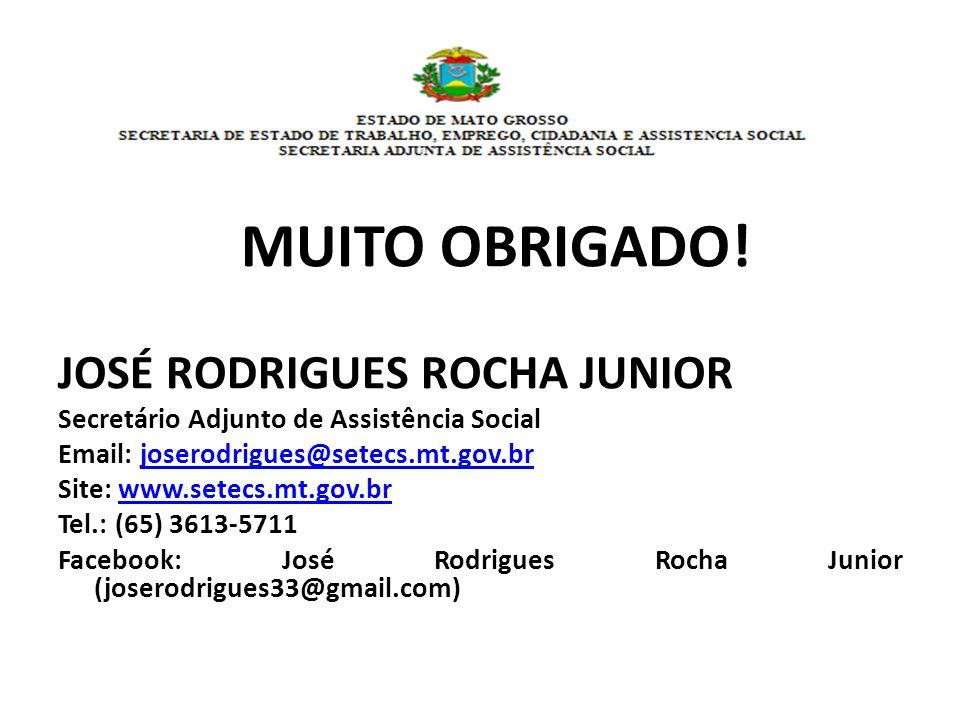 MUITO OBRIGADO! JOSÉ RODRIGUES ROCHA JUNIOR Secretário Adjunto de Assistência Social Email: joserodrigues@setecs.mt.gov.brjoserodrigues@setecs.mt.gov.