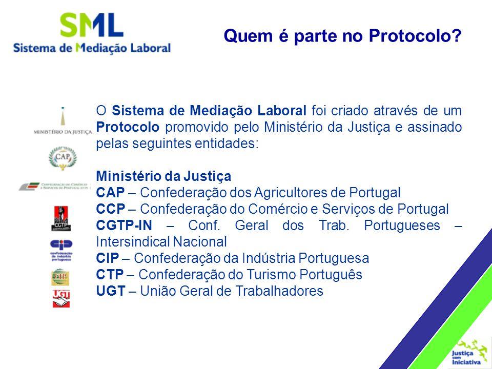 O Sistema de Mediação Laboral foi criado através de um Protocolo promovido pelo Ministério da Justiça e assinado pelas seguintes entidades: Ministério da Justiça CAP – Confederação dos Agricultores de Portugal CCP – Confederação do Comércio e Serviços de Portugal CGTP-IN – Conf.