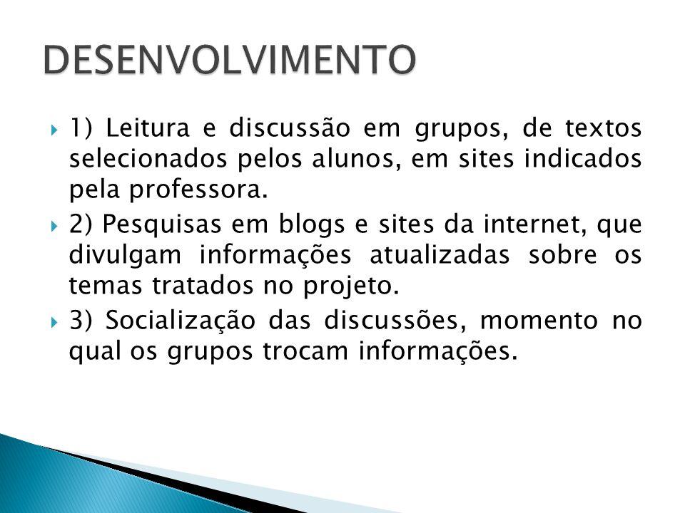 1) Leitura e discussão em grupos, de textos selecionados pelos alunos, em sites indicados pela professora.