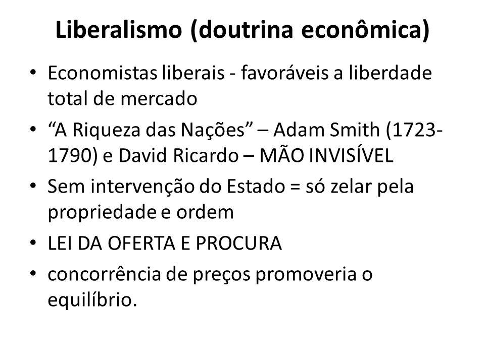 Liberalismo (doutrina econômica) Economistas liberais - favoráveis a liberdade total de mercado A Riqueza das Nações – Adam Smith (1723- 1790) e David
