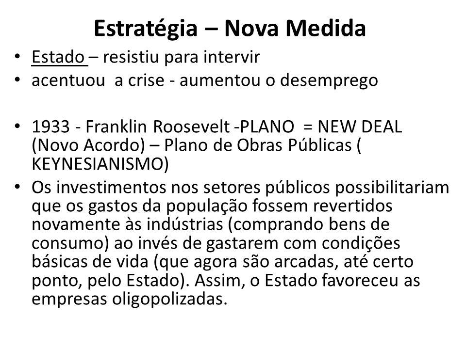 Estratégia – Nova Medida Estado – resistiu para intervir acentuou a crise - aumentou o desemprego 1933 - Franklin Roosevelt -PLANO = NEW DEAL (Novo Ac