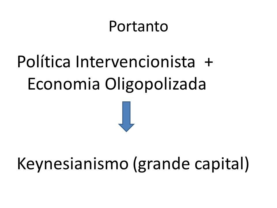 Portanto Política Intervencionista + Economia Oligopolizada Keynesianismo (grande capital)
