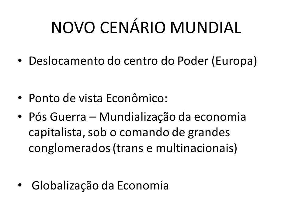 NOVO CENÁRIO MUNDIAL Deslocamento do centro do Poder (Europa) Ponto de vista Econômico: Pós Guerra – Mundialização da economia capitalista, sob o coma
