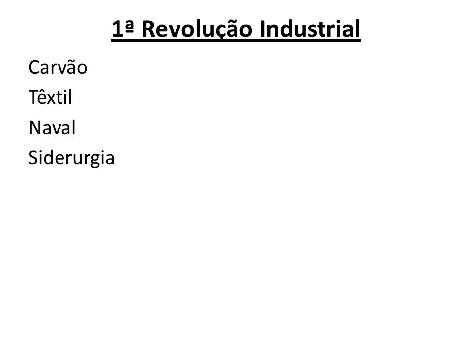 1ª Revolução Industrial Carvão Têxtil Naval Siderurgia
