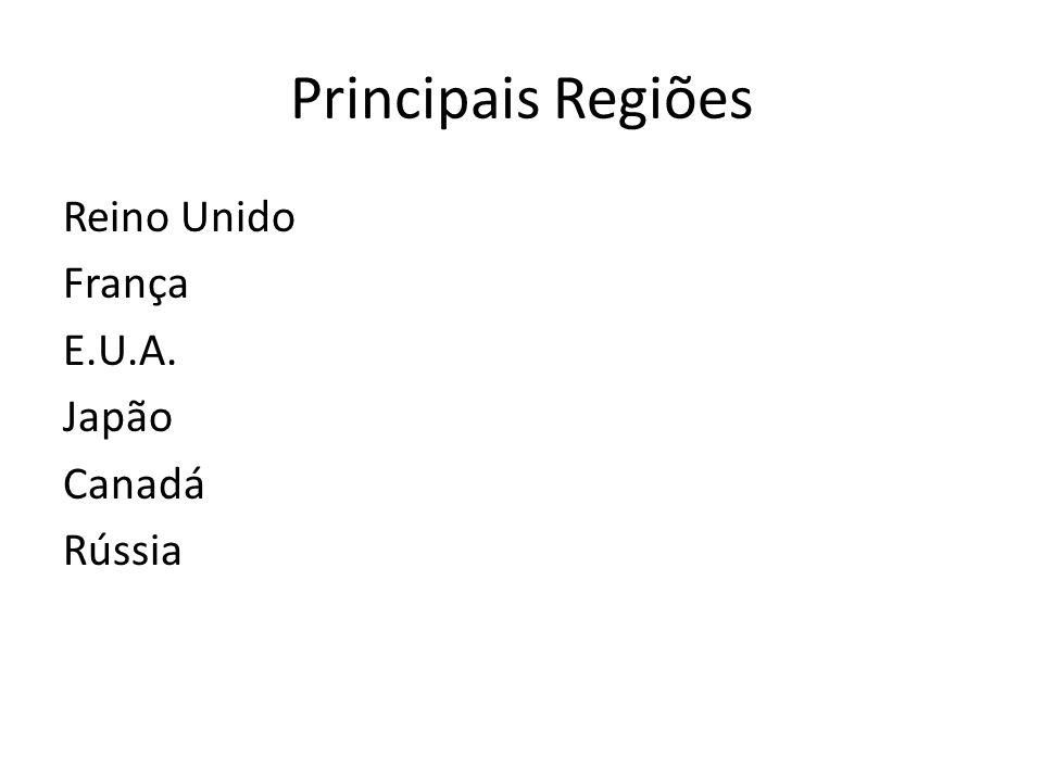 Principais Regiões Reino Unido França E.U.A. Japão Canadá Rússia