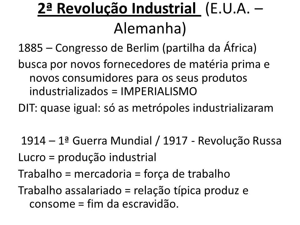 2ª Revolução Industrial (E.U.A. – Alemanha) 1885 – Congresso de Berlim (partilha da África) busca por novos fornecedores de matéria prima e novos cons