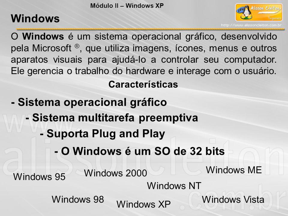 Em relação ao Sistema Operacional, NÃO é sua função: A) Gerenciamento de memória; B) Agendar e gerenciar processos; C) Gerenciamento de dispositivos; D) Gerenciamento de arquivos; E) Criptografia dos dados para disponibilização na Internet Exercícios Módulo II – Windows XP