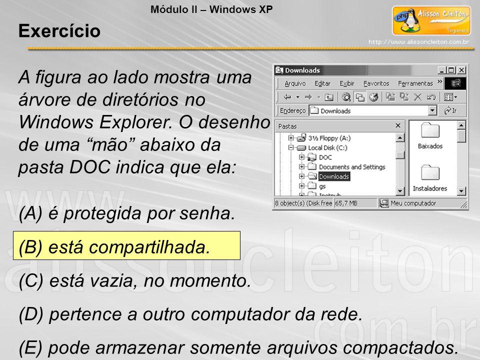 A figura ao lado mostra uma árvore de diretórios no Windows Explorer. O desenho de uma mão abaixo da pasta DOC indica que ela: (A) é protegida por sen