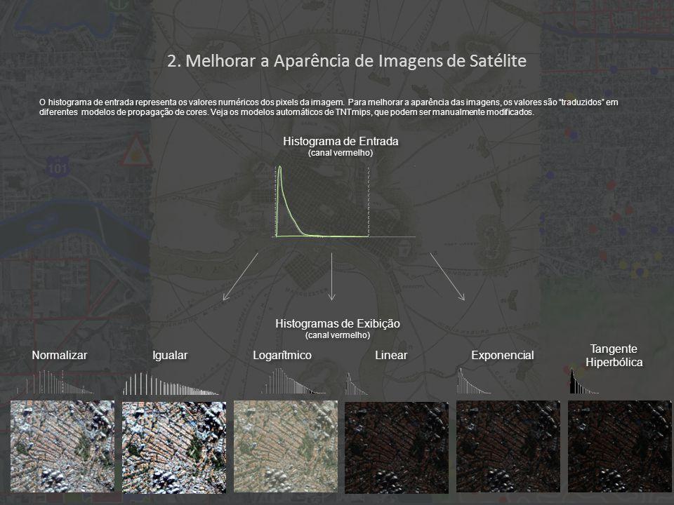 2. Melhorar a Aparência de Imagens de Satélite Normalizar Igualar Logarítmico Linear Exponencial Tangente Hiperbólica Histograma de Entrada (canal ver