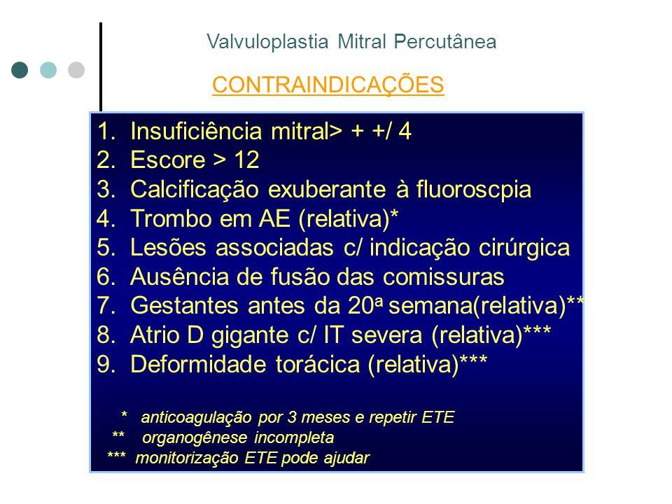 CONTRAINDICAÇÕES 1.Insuficiência mitral> + +/ 4 2.Escore > 12 3.Calcificação exuberante à fluoroscpia 4.Trombo em AE (relativa)* 5.Lesões associadas c/ indicação cirúrgica 6.Ausência de fusão das comissuras 7.Gestantes antes da 20 a semana(relativa)** 8.Atrio D gigante c/ IT severa (relativa)*** 9.Deformidade torácica (relativa)*** * anticoagulação por 3 meses e repetir ETE ** organogênese incompleta *** monitorização ETE pode ajudar Valvuloplastia Mitral Percutânea