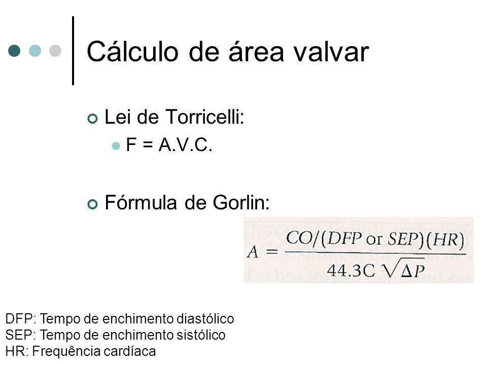 Cálculo de área valvar Lei de Torricelli: F = A.V.C.