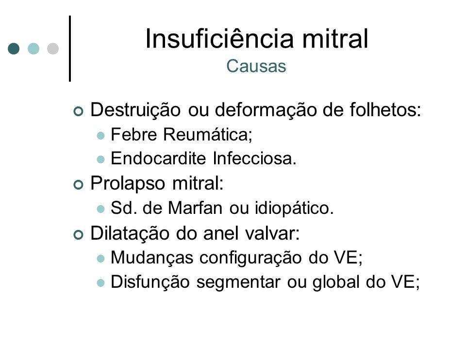 Insuficiência mitral Causas Destruição ou deformação de folhetos: Febre Reumática; Endocardite Infecciosa.