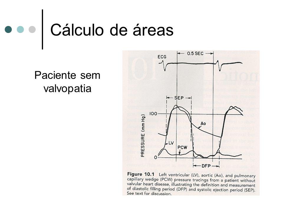 Cálculo de áreas Paciente sem valvopatia