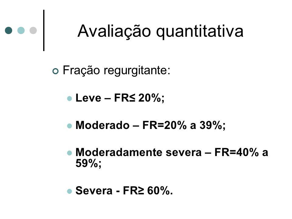 Avaliação quantitativa Fração regurgitante: Leve – FR 20%; Moderado – FR=20% a 39%; Moderadamente severa – FR=40% a 59%; Severa - FR 60%.