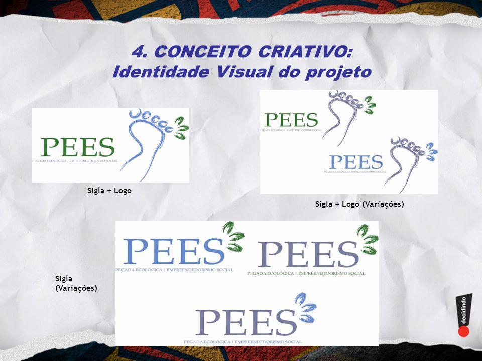 4. CONCEITO CRIATIVO: Identidade Visual do projeto Sigla + Logo Sigla + Logo (Variações) Sigla (Variações)