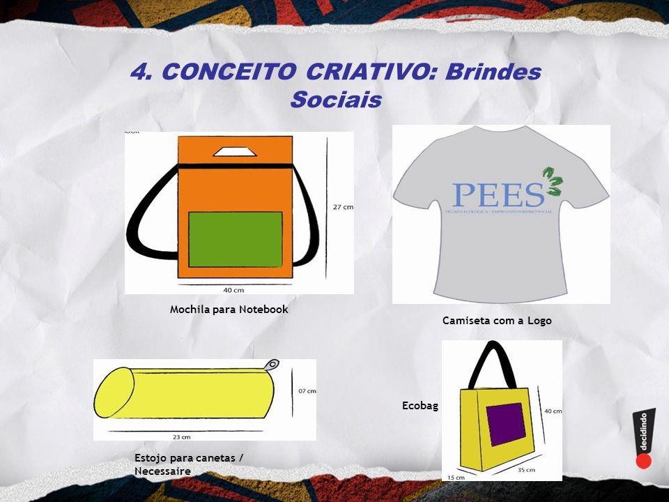 4. CONCEITO CRIATIVO: Brindes Sociais Mochila para Notebook Camiseta com a Logo Estojo para canetas / Necessaire Ecobag