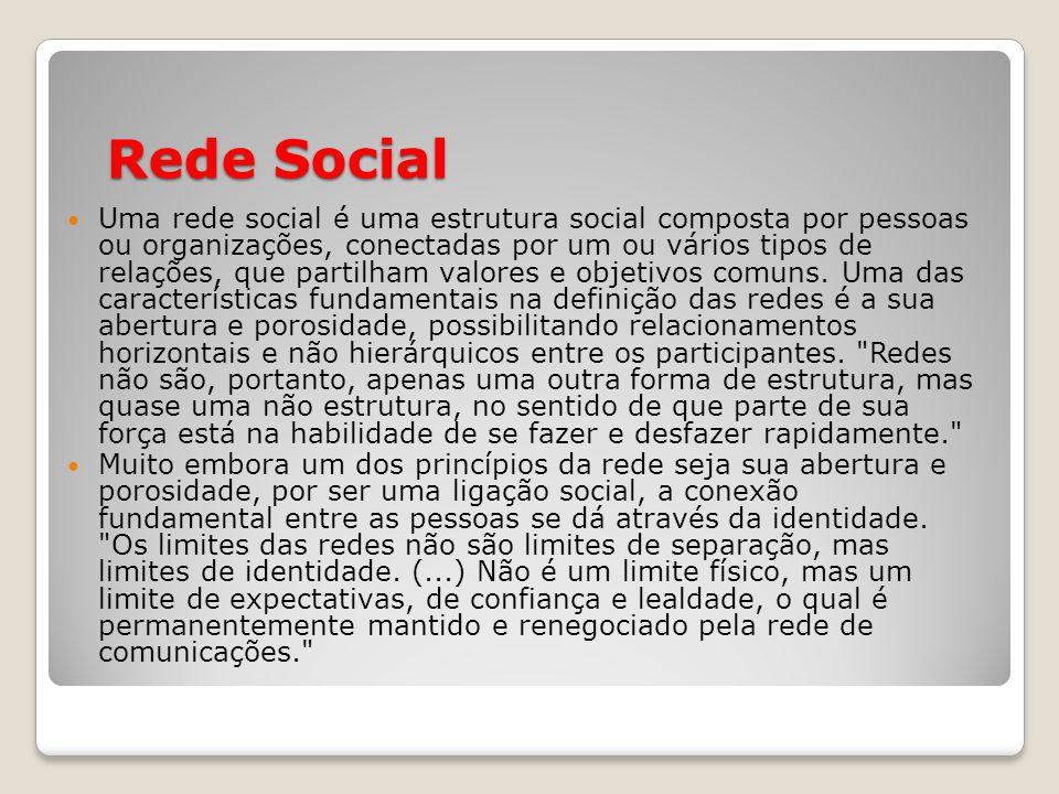 Rede Social Uma rede social é uma estrutura social composta por pessoas ou organizações, conectadas por um ou vários tipos de relações, que partilham valores e objetivos comuns.