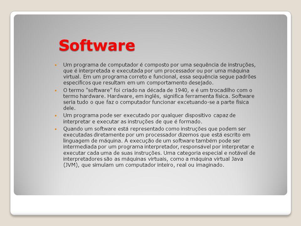 Software Um programa de computador é composto por uma sequência de instruções, que é interpretada e executada por um processador ou por uma máquina virtual.