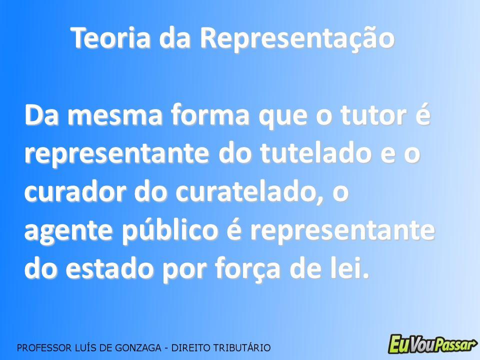 Teoria da Representação Da mesma forma que o tutor é representante do tutelado e o curador do curatelado, o agente público é representante do estado p