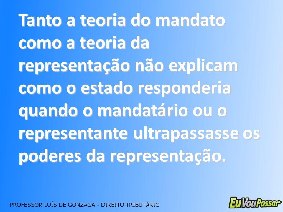 Tanto a teoria do mandato como a teoria da representação não explicam como o estado responderia quando o mandatário ou o representante ultrapassasse o