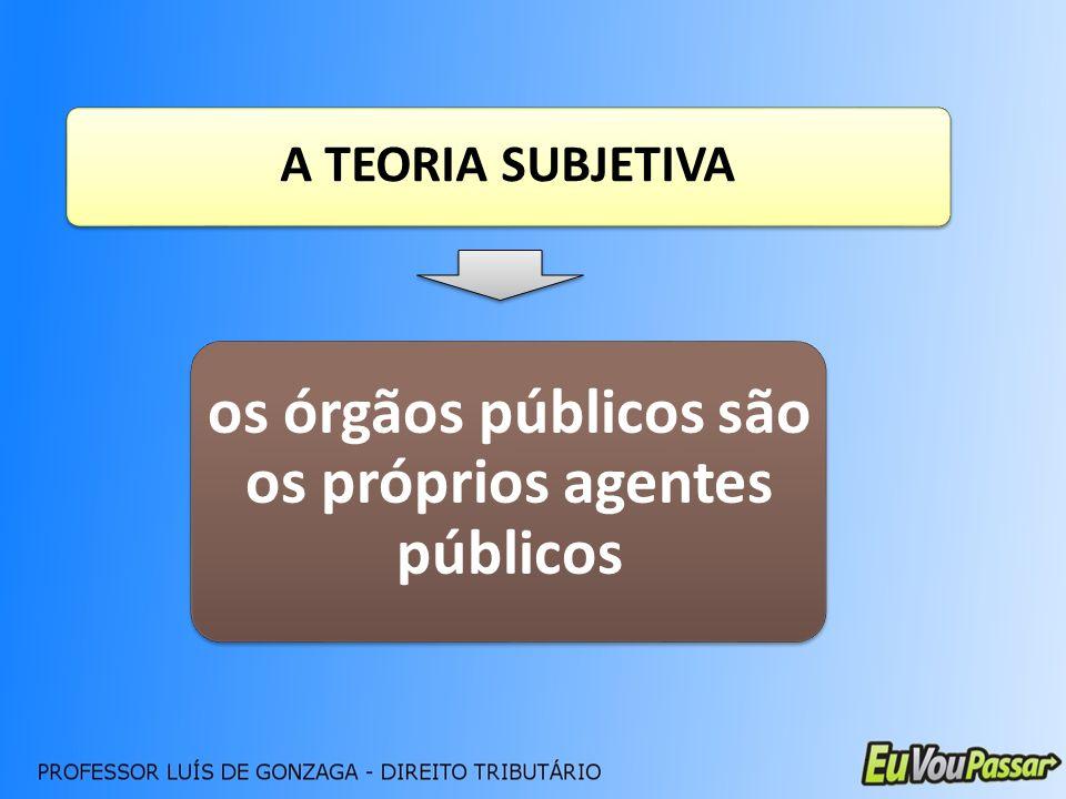 A TEORIA SUBJETIVA os órgãos públicos são os próprios agentes públicos