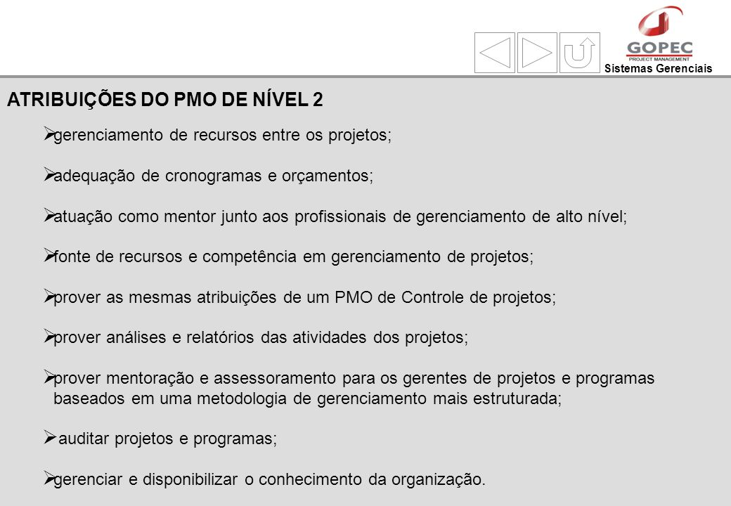 Sistemas Gerenciais gerenciamento de recursos entre os projetos; adequação de cronogramas e orçamentos; atuação como mentor junto aos profissionais de