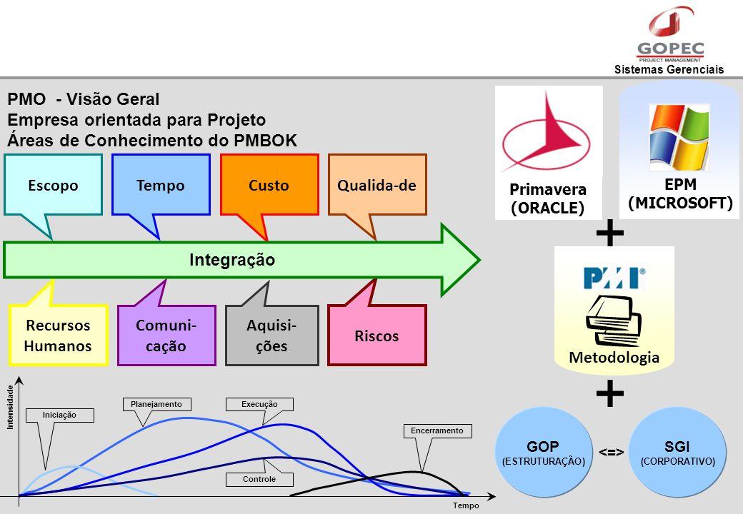 Sistemas Gerenciais EscopoTempoCustoQualida-de Recursos Humanos Comuni- cação Aquisi- ções Riscos Integração Primavera (ORACLE) EPM (MICROSOFT) Metodo