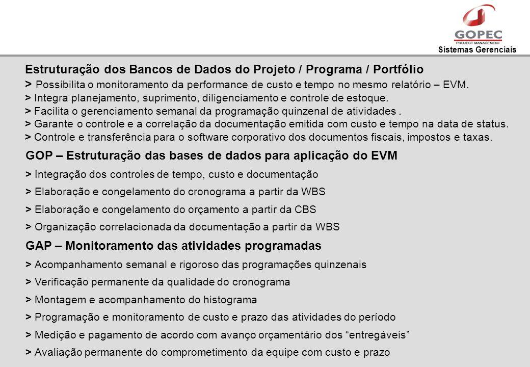 Sistemas Gerenciais Estruturação dos Bancos de Dados do Projeto / Programa / Portfólio > Possibilita o monitoramento da performance de custo e tempo n