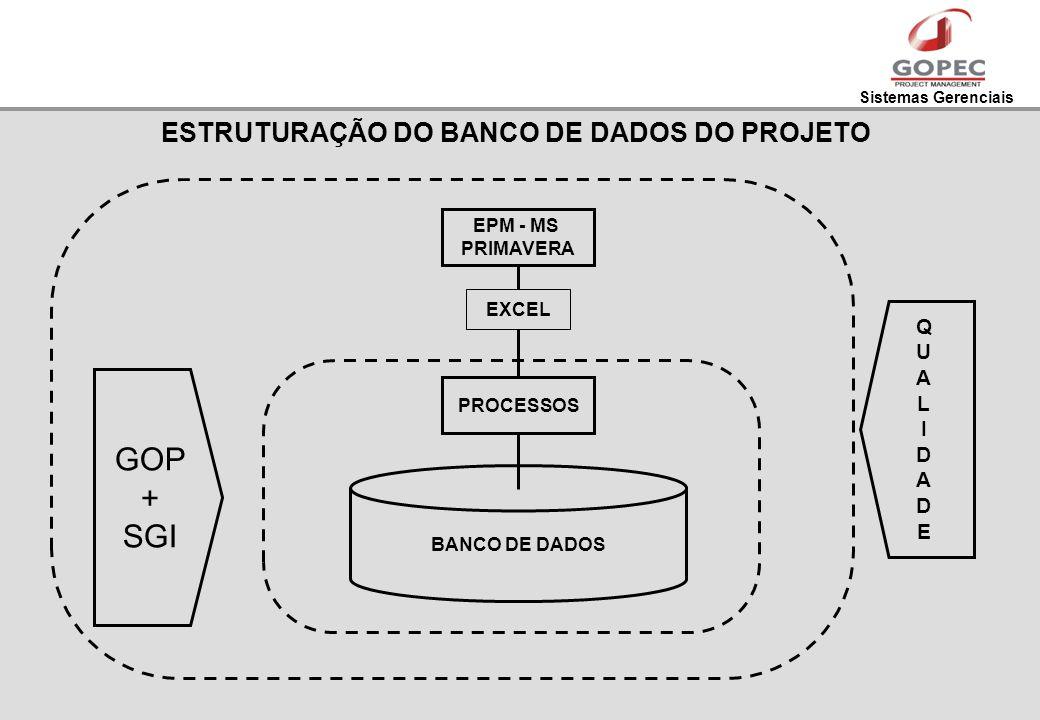 Sistemas Gerenciais ESTRUTURAÇÃO DO BANCO DE DADOS DO PROJETO PROCESSOS EPM - MS PRIMAVERA BANCO DE DADOS EXCEL GOP + SGI QUALIDADEQUALIDADE