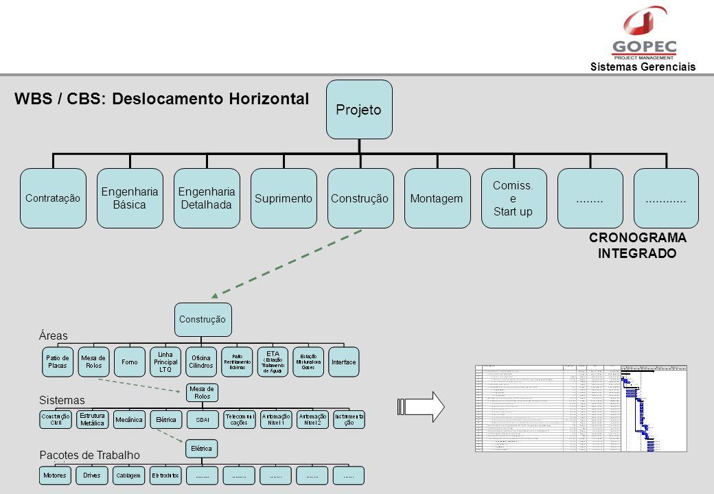 Sistemas Gerenciais Projeto Contratação Engenharia Básica Engenharia Detalhada SuprimentoConstruçãoMontagem Comiss. e Start up.................... CRO