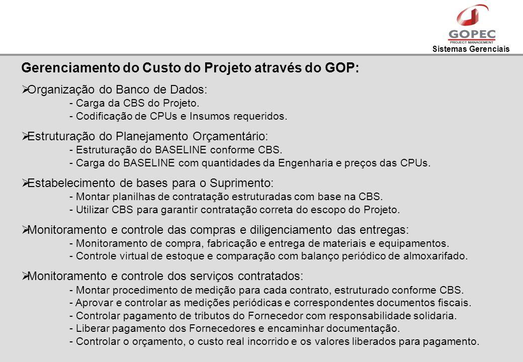 Sistemas Gerenciais Gerenciamento do Custo do Projeto através do GOP: Organização do Banco de Dados: - Carga da CBS do Projeto. - Codificação de CPUs