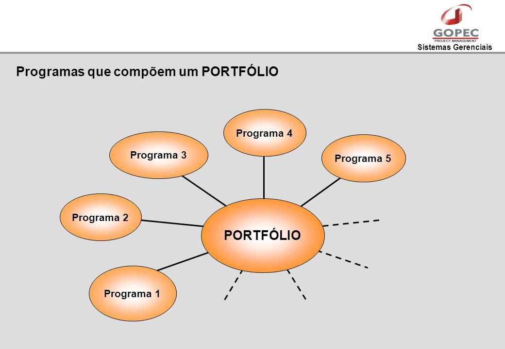 Sistemas Gerenciais Programas que compõem um PORTFÓLIO Programa 2 Programa 1 Programa 3Programa 4 Programa 5 PORTFÓLIO
