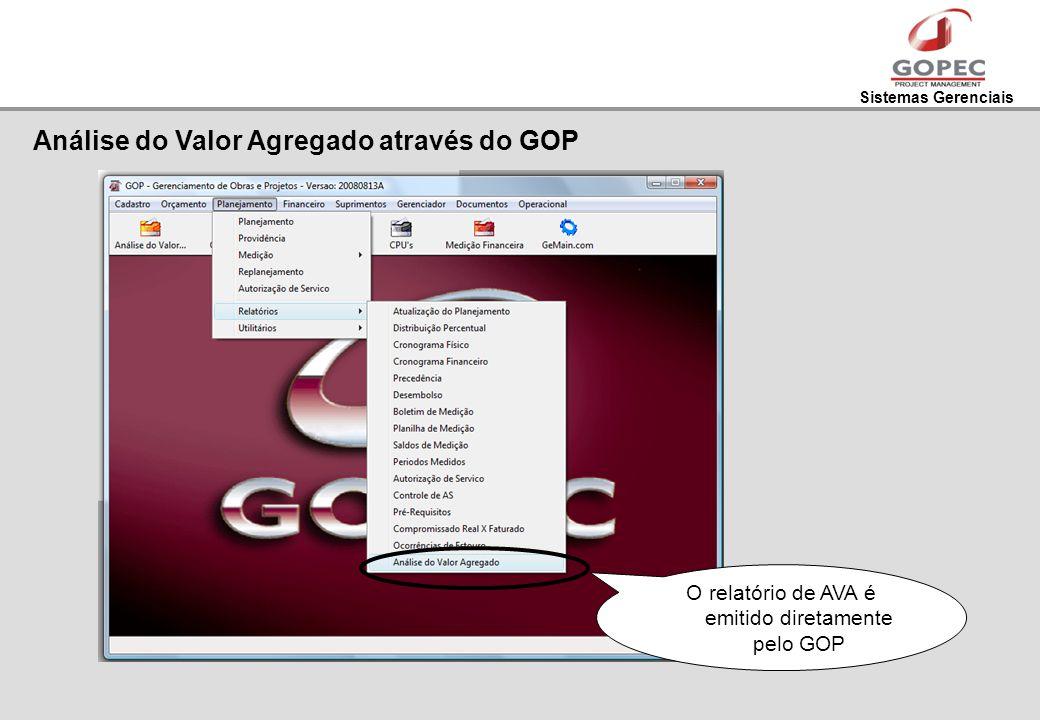 Sistemas Gerenciais O relatório de AVA é emitido diretamente pelo GOP Análise do Valor Agregado através do GOP