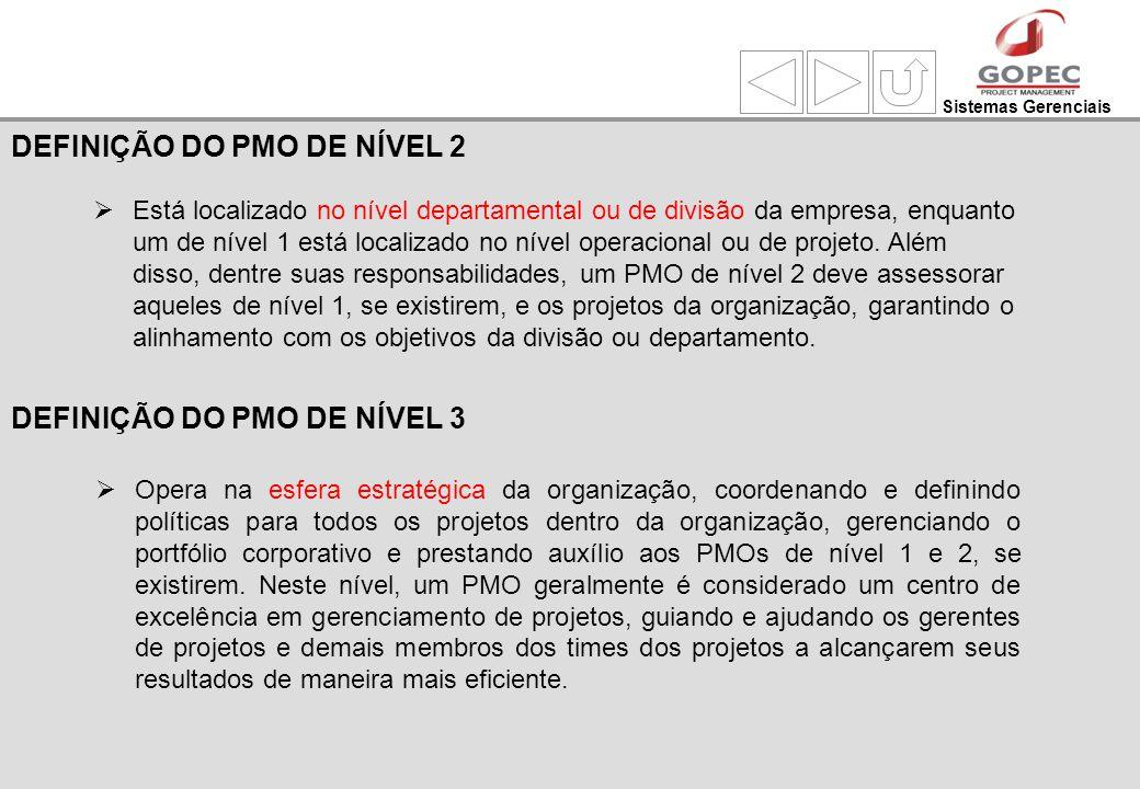 Sistemas Gerenciais Está localizado no nível departamental ou de divisão da empresa, enquanto um de nível 1 está localizado no nível operacional ou de