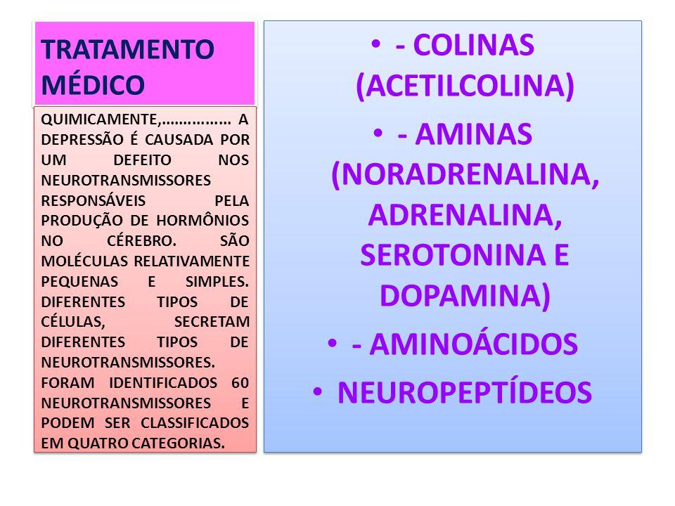 TRATAMENTO MÉDICO - COLINAS (ACETILCOLINA) - AMINAS (NORADRENALINA, ADRENALINA, SEROTONINA E DOPAMINA) - AMINOÁCIDOS NEUROPEPTÍDEOS - COLINAS (ACETILC