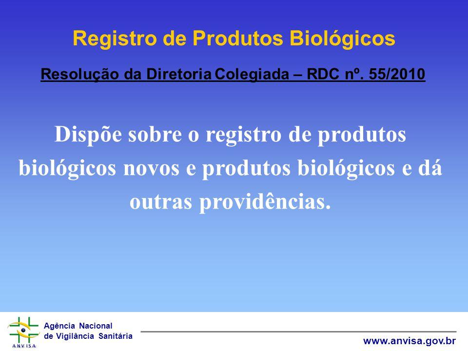 Agência Nacional de Vigilância Sanitária www.anvisa.gov.br Resolução da Diretoria Colegiada – RDC nº. 55/2010 Dispõe sobre o registro de produtos biol