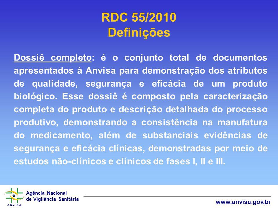 Agência Nacional de Vigilância Sanitária www.anvisa.gov.br RDC 55/2010 Definições Dossiê completo: é o conjunto total de documentos apresentados à Anv