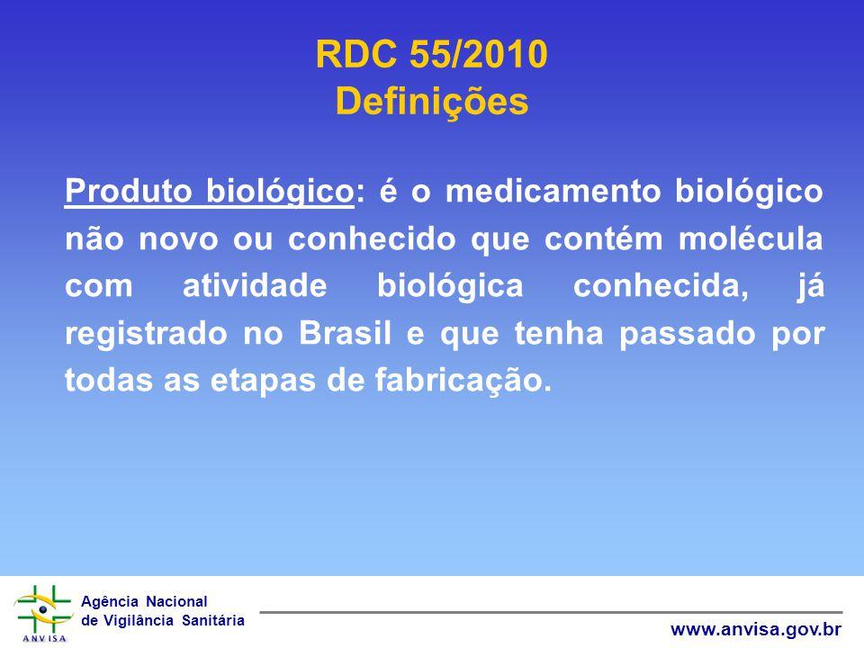 Agência Nacional de Vigilância Sanitária www.anvisa.gov.br Produto biológico: é o medicamento biológico não novo ou conhecido que contém molécula com